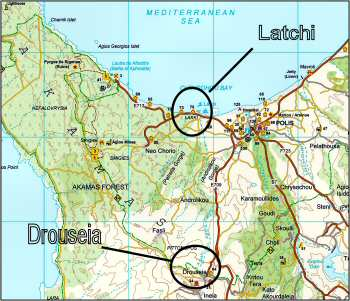 Map of Drouseia to Latchi cycle route