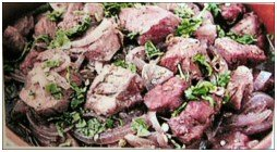 Afelia - pork cooked in red wine and spices